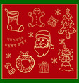 christmas icons hand drawn simple set vector image vector image