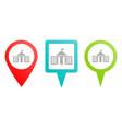 city hall pin icon multicolor pin icon vector image vector image