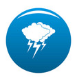 cloud thunder flash icon blue vector image vector image