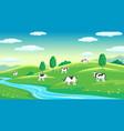 colorful farm summer landscape blue clear sky vector image vector image