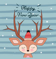 cute deer character happy new year vector image