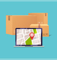 delivery tracking on a computer pile of stacked vector image vector image