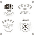 drawing drone logo set quadrocopter vector image