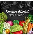 farm market vegetables chalkboard sketch vector image vector image