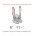 funny bunny retro style best friend phrase vector image