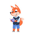 funny cartoon fox kid with book forest animal vector image vector image