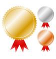 gold silver bronze medals badges graphics trophy vector image