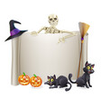halloween skeleton scroll vector image vector image