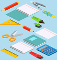 Isometric on a blue background with the image vector image vector image