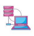 laptop database server connection storage vector image vector image