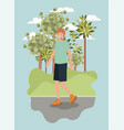 man on roller skates in the park vector image vector image