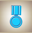 medal sign sky blue icon vector image