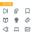 media icons line style set with end laptop slow vector image vector image