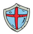 medieval shield cartoon hand drawn image vector image