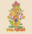 mexico guitar lemon and masks vector image vector image