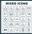 network icons set collection of bullhorn phone vector image vector image