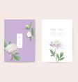 peony flowers watercolor wedding card vector image vector image