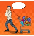 Pop Art Happy Man with Shopping Cart full of Gifts vector image vector image