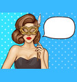 pop art pretty woman with carnival mask vector image vector image
