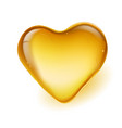 realistic amber in a heart shape on white vector image vector image