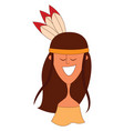 red hair indian girl on white background vector image