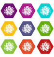 round viral bacteria icon set color hexahedron vector image vector image