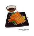 salmon sashimi hand draw sketch vector image vector image