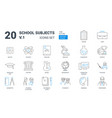 school education subjects flat outline icon set vector image