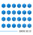 set blue isometric dice vector image vector image