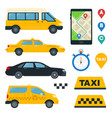 set business and yellow taxi flat vector image