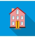 Three stored country house icon flat style vector image vector image