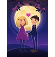 Two lovers in night on the moon background vector image
