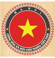 Vintage label cards of Vietnam flag vector image