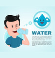 water in body infographic young man vector image vector image