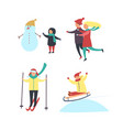 winter season fun activities of people vector image vector image