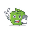 with phone green apple character cartoon vector image vector image