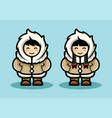 young eskimo cute couple in cartoon style arctic vector image