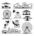 icons of different attractions in amusement vector image