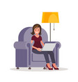 a woman with laptop sitting in the chair vector image vector image