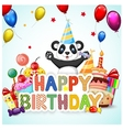 Birthday background with lion and panda vector image