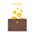 bitcoins in the wallet coins of gold color vector image vector image