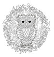 black white tracery doodle of the owl vector image vector image