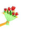 bouquet beautiful spring flowers in hand vector image vector image