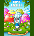 cartoon bunny waving hand in the woods near the ri vector image vector image