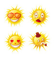 cartoon cute funny sun emojis isolated vector image