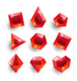 cartoon red different shapes crystals vector image