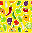 cartoon vegetable faces seamless background vector image