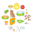 cats accessories icons set cartoon style vector image vector image