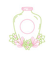 color line mason jar with sticker and flowers vector image vector image