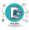 colorful poster of social media with smartphone vector image